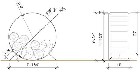 Plan - Schéma - Support à bûche 0250-09