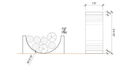 Plan - Schéma - Support à bûche 0250-08